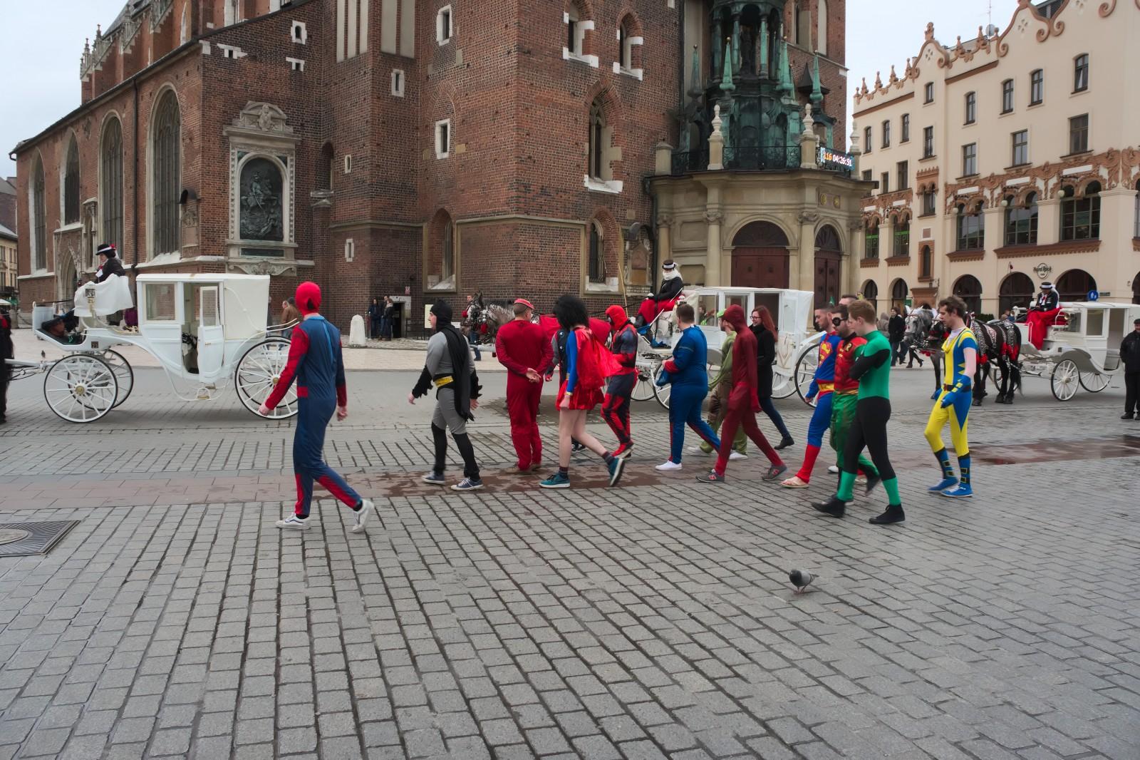 Superhrdinové na Krakovském rynku